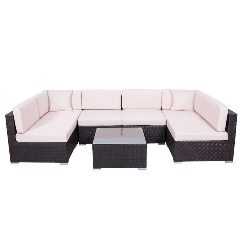 Outstanding Palm Springs 7 Piece Rattan Sectional Sofa Set With Table And Cushions Onthecornerstone Fun Painted Chair Ideas Images Onthecornerstoneorg