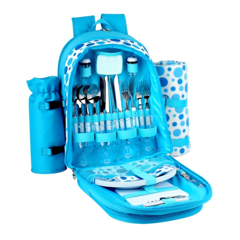 Confidence Picnic Backpack Bright Blue Polkadots