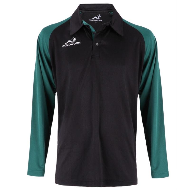 Woodworm Pro Cricket Long Sleeve Shirt Green
