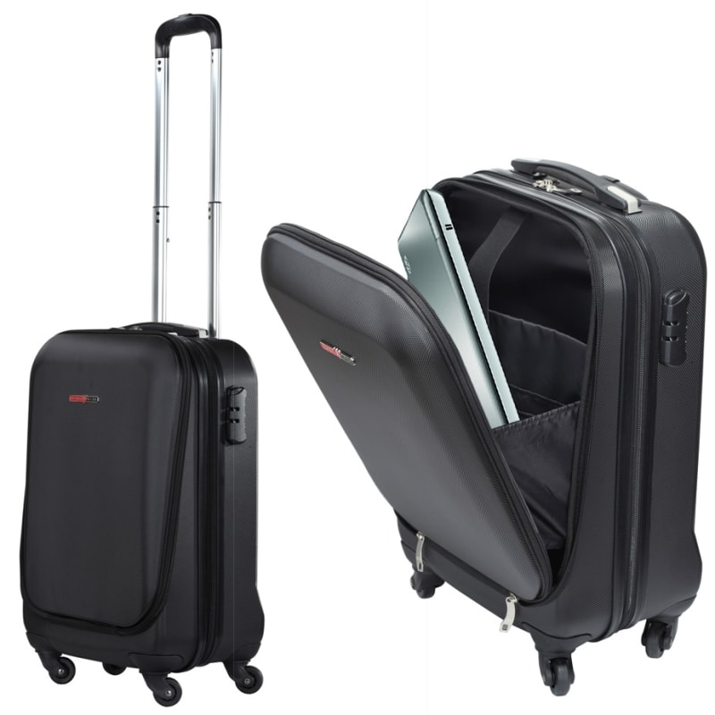 "Swiss Case 20"" ABS 4 Wheel Suitcase W/ Zip Pocket"
