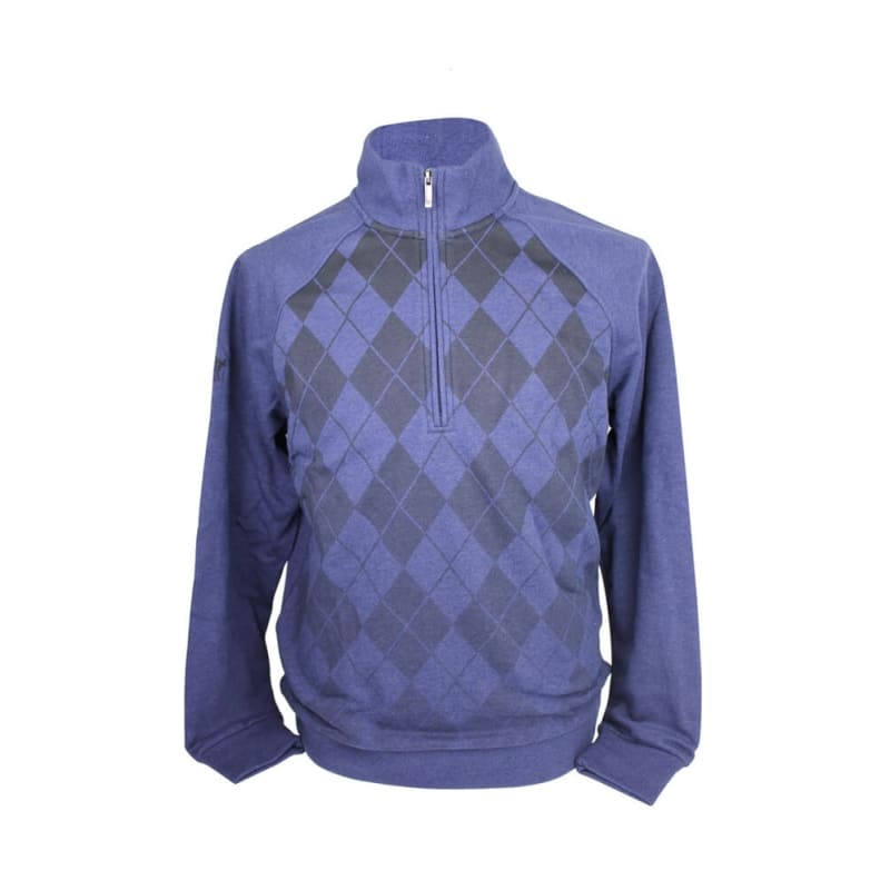 Ashworth Mens Argyll Half zip Sweater Blue