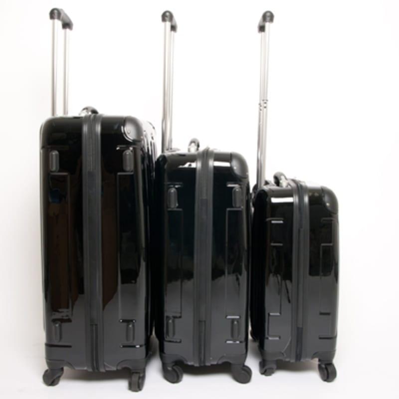 OPEN BOX Swiss Case Black 4 wheel 3 Piece Hardcase Luggage Set #2