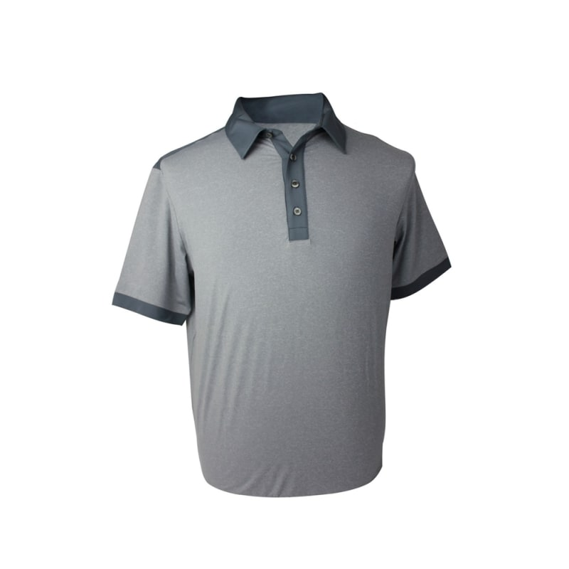 GREY - Adidas Mens AdiPure Heather Short Sleeve Polo