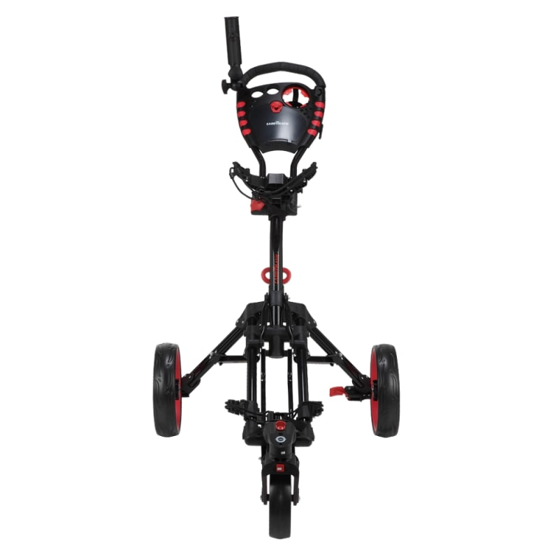 Caddymatic Golf 360° SwivelEase 3 Wheel Folding Golf Cart Black/Red #1