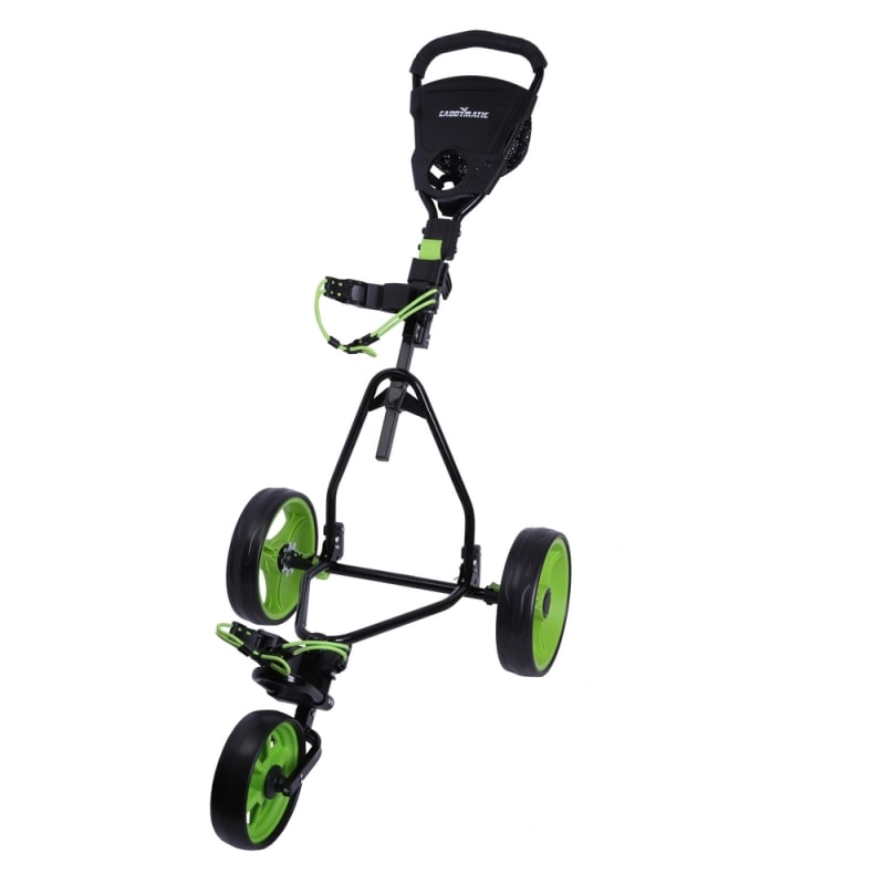 Caddymatic Junior Golf Cart - 3 Wheel Folding Cart for Kids- Black/Green