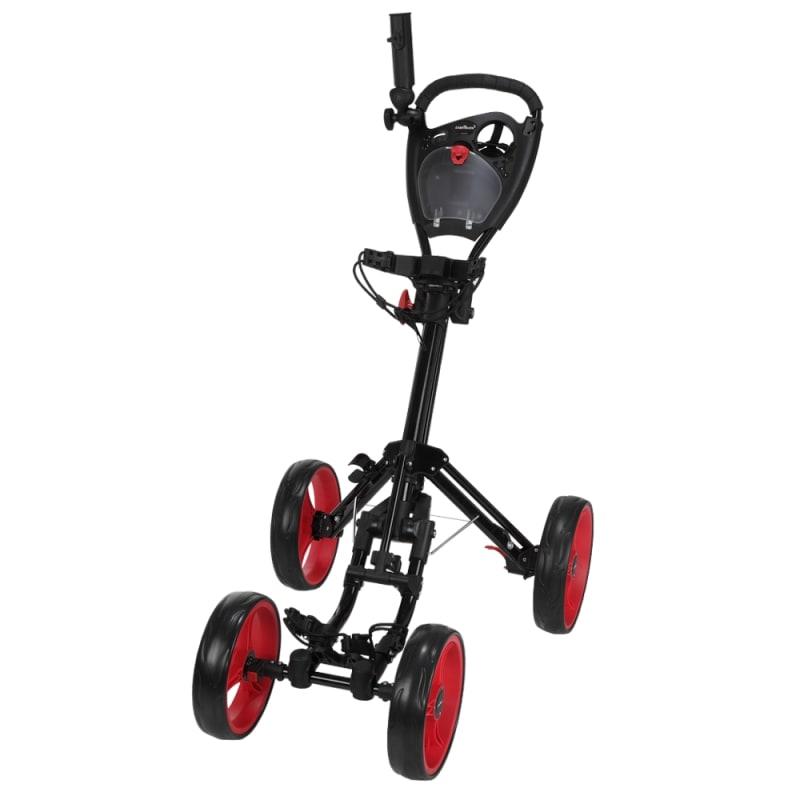 Caddymatic Golf Quad 4-Wheel Folding Golf Pull / Push Cart Black/Red #