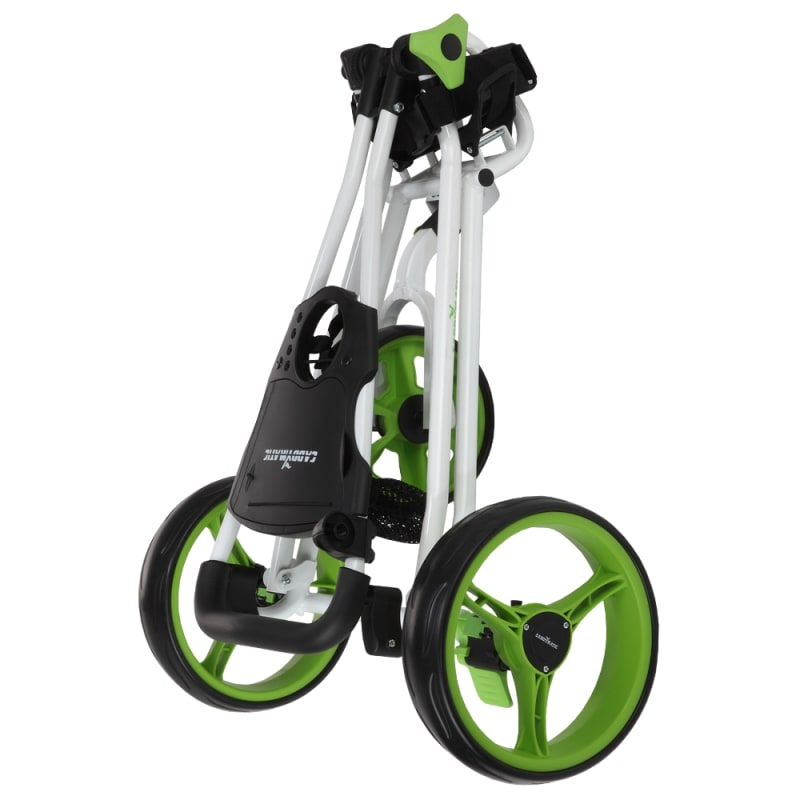 Caddymatic Golf Continental 3 Wheel Folding Golf Push/Pull Cart White/Green #1
