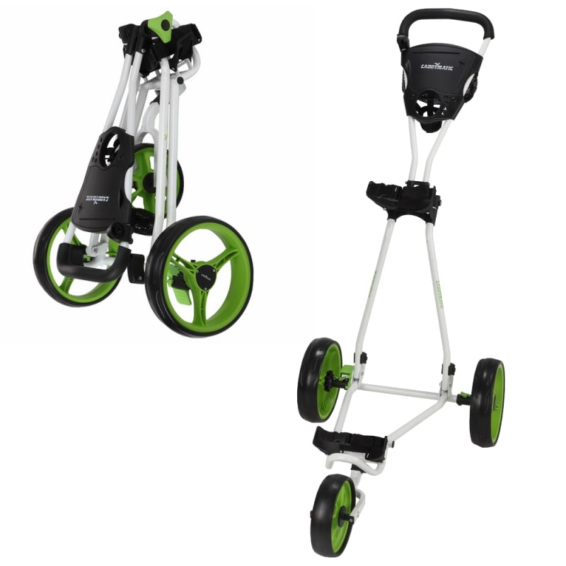 Caddymatic Golf Continental 3 Wheel Folding Golf Push/Pull Trolley White/Green