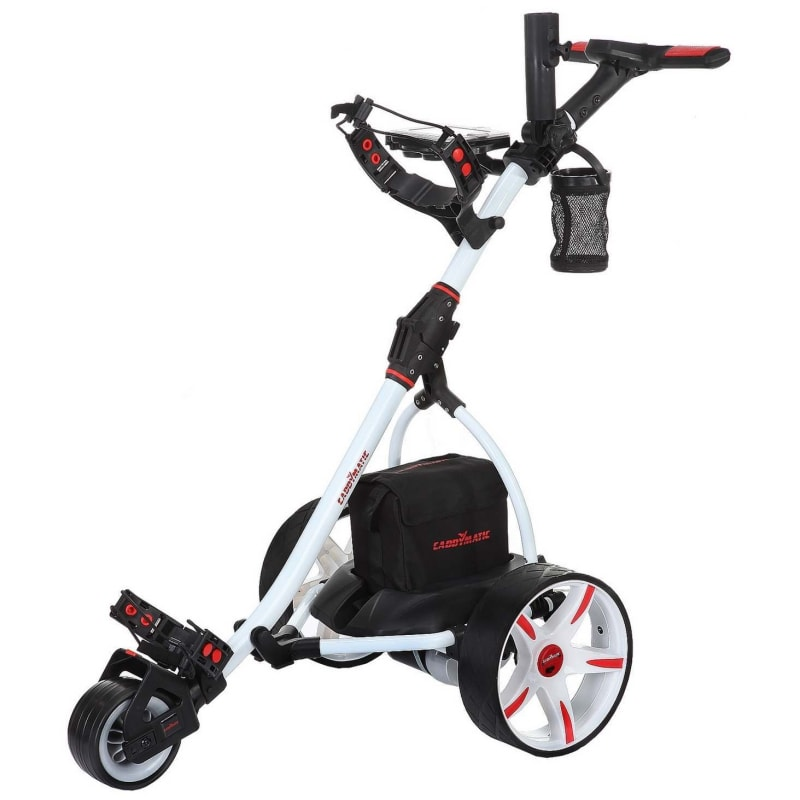 Caddymatic V2 Electric Golf Trolley / Cart with Upgraded 36 Hole Battery With Auto-Distance Functionality - White