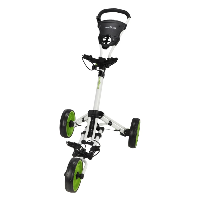 Caddymatic Golf X-Lite One-Click Folding Pull/Push Golf Cart White/Green #