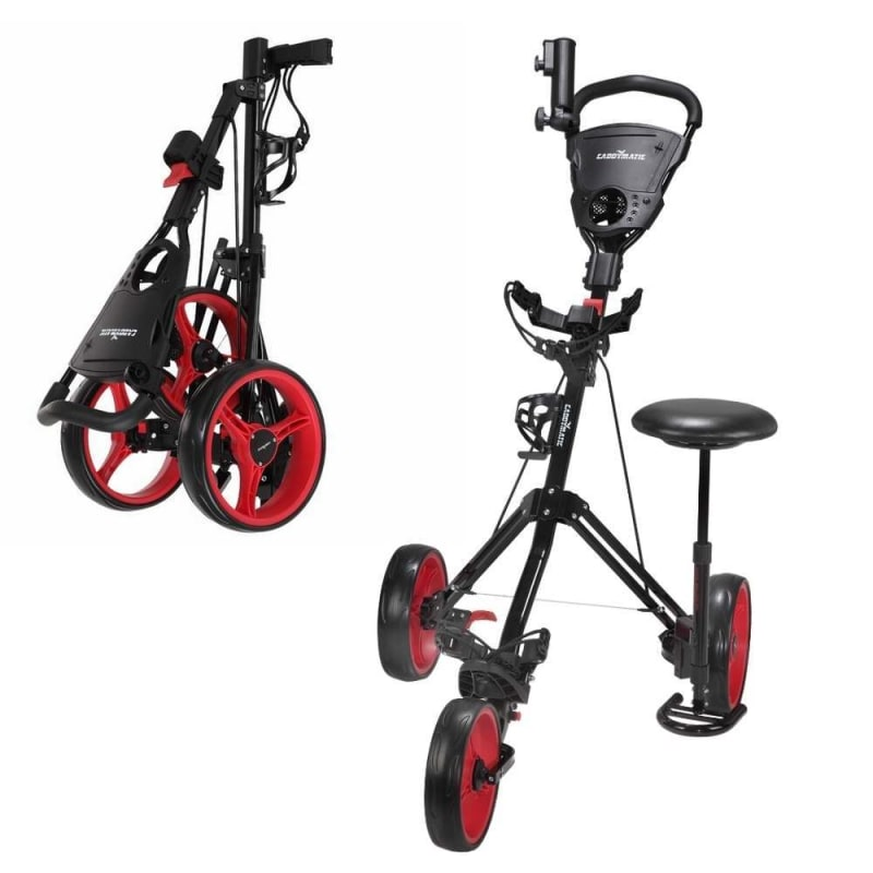 EX DEMO Caddymatic Golf X-TREME 3 Wheel Push/Pull Golf Tolley with Seat Black/Red
