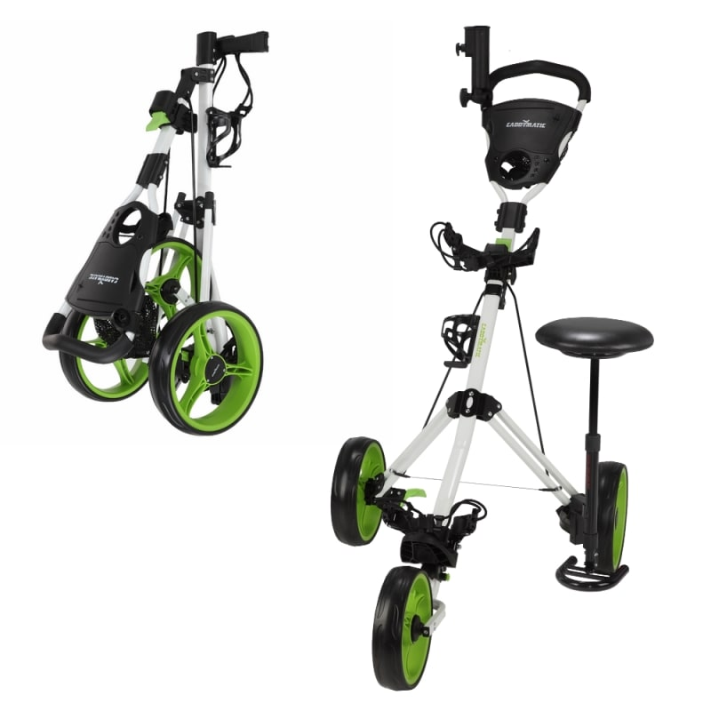 EX-DEMO Caddymatic Golf X-TREME 3 Wheel Push/Pull Golf Tolley with Seat White/Green