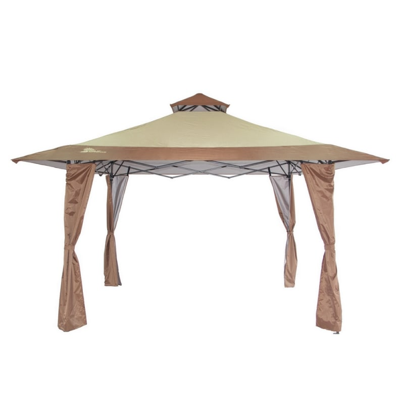 Palm Springs 13x13 Double Top Pop Up Gazebo- Tan / Brown