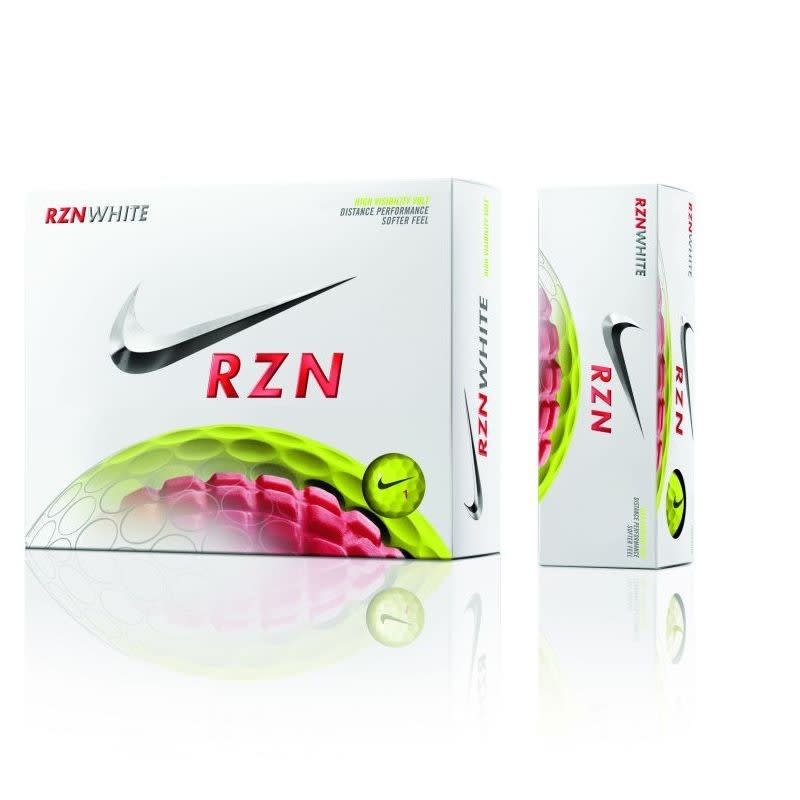 12 Nike RZN White Golf Balls - Volt Yellow