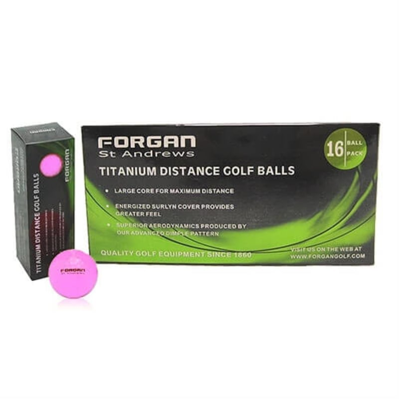 Forgan of St Andrews 16 Titanium Distance Golf Balls - Pink