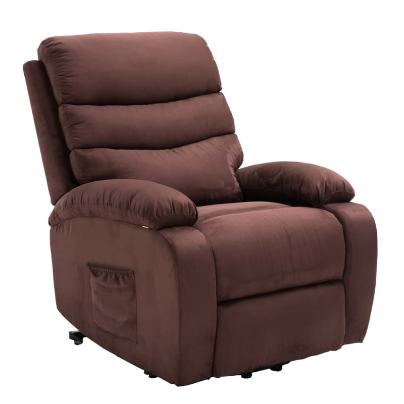 Homegear Microfiber Power Lift Electric Recliner Chair with Massage, Heat and Vibration with Remote - Brown #3