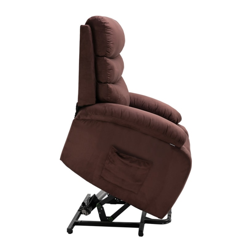 Homegear Microfiber Power Lift Electric Recliner Chair with Massage, Heat and Vibration with Remote - Brown #4
