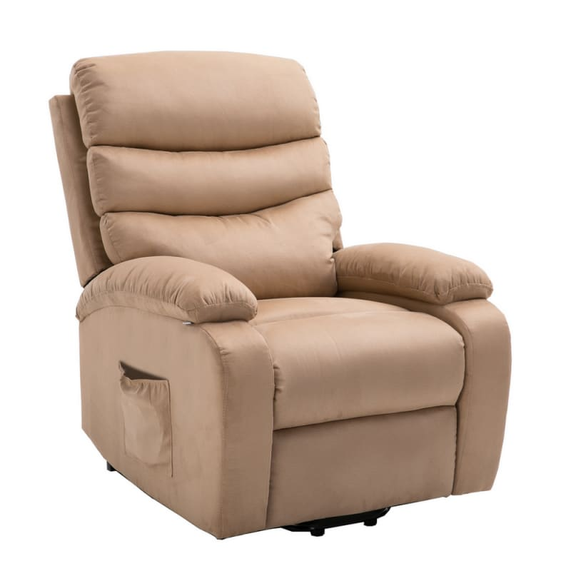 Homegear 2-Remote Microfiber Power Lift Electric Recliner Chair V2 with Massage, Heat and Vibration with Remote - Taupe #3