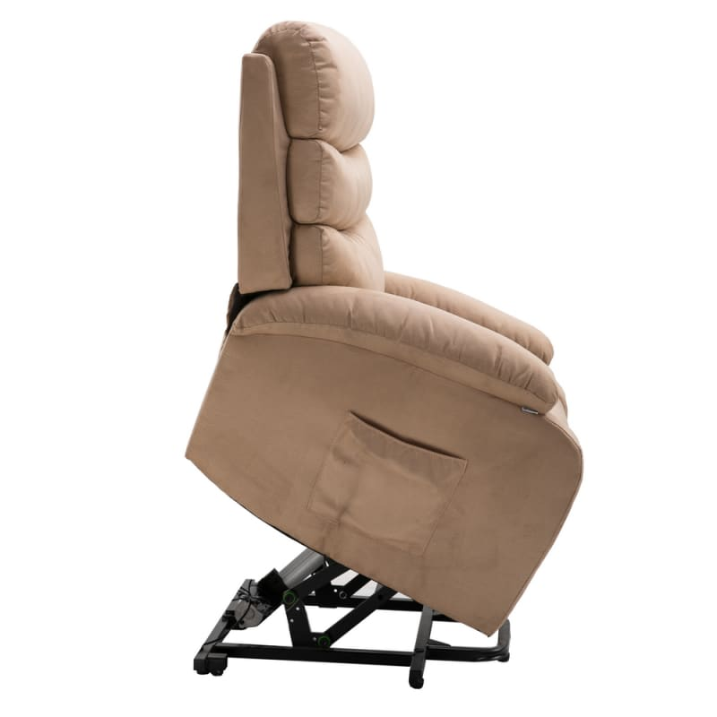 Homegear 2-Remote Microfiber Power Lift Electric Recliner Chair V2 with Massage, Heat and Vibration with Remote - Taupe #4
