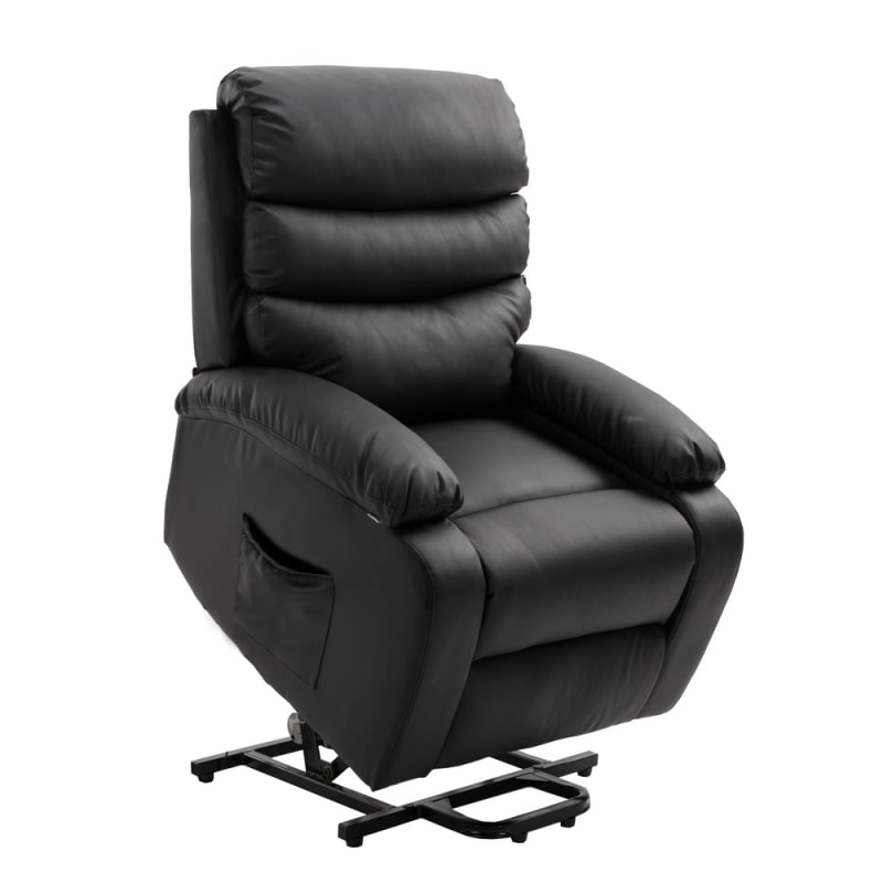 Homegear PU Leather Power Lift Electric Recliner Chair with Massage, Heat and Vibration with Remote - Black