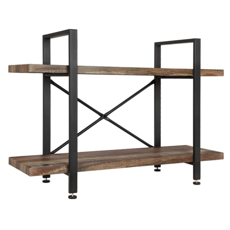 OPEN BOX Homegear Furniture Vintage Oak Style 2-Tier Bookcase - Wood Shelves with Black Iron Frame