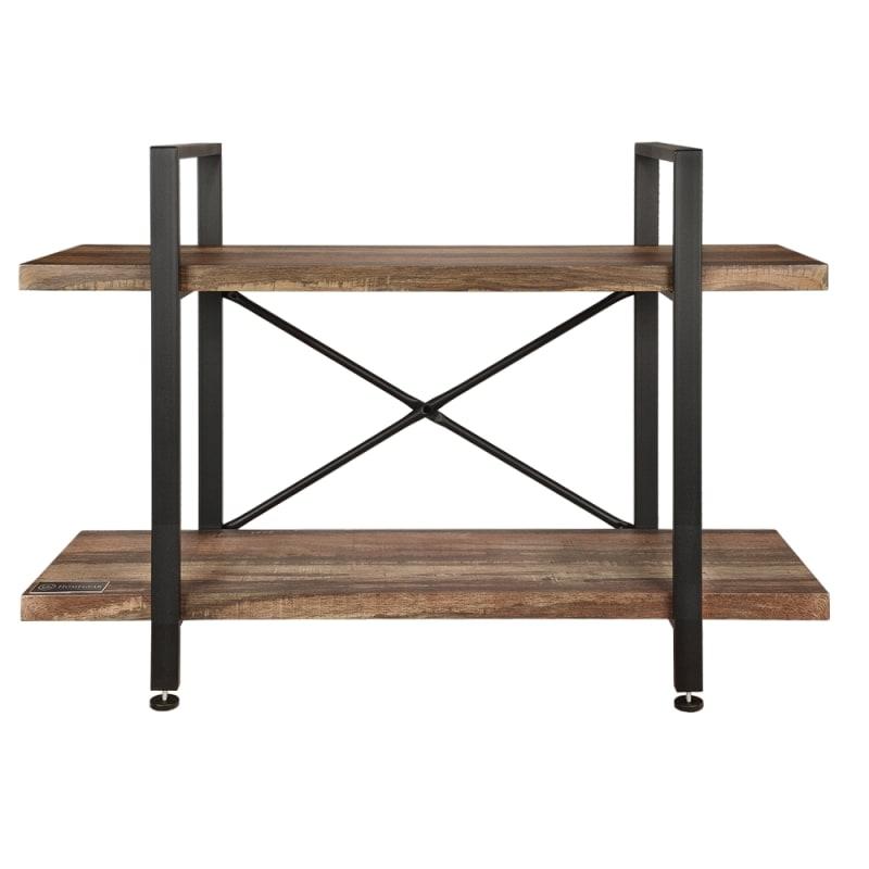 Homegear Furniture Vintage Oak Style 2-Tier Bookcase - Wood Shelves with Black Iron Frame #2