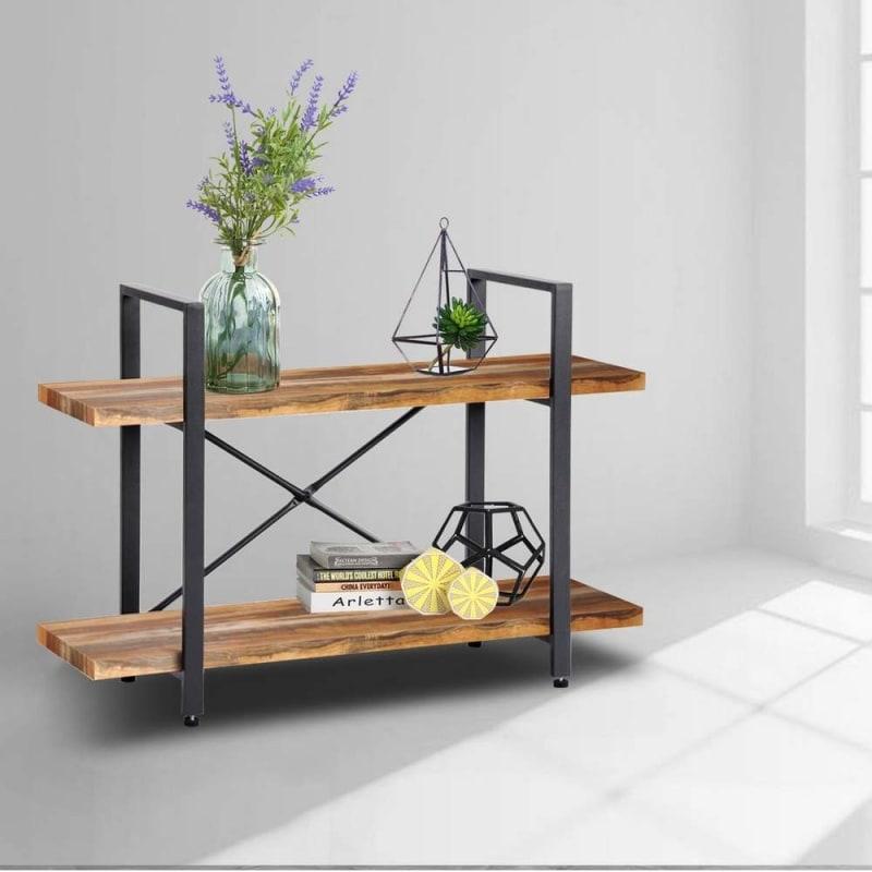 Homegear Furniture Vintage Oak Style 2-Tier Bookcase V2 - Wood Shelves with Black Iron Frame #1