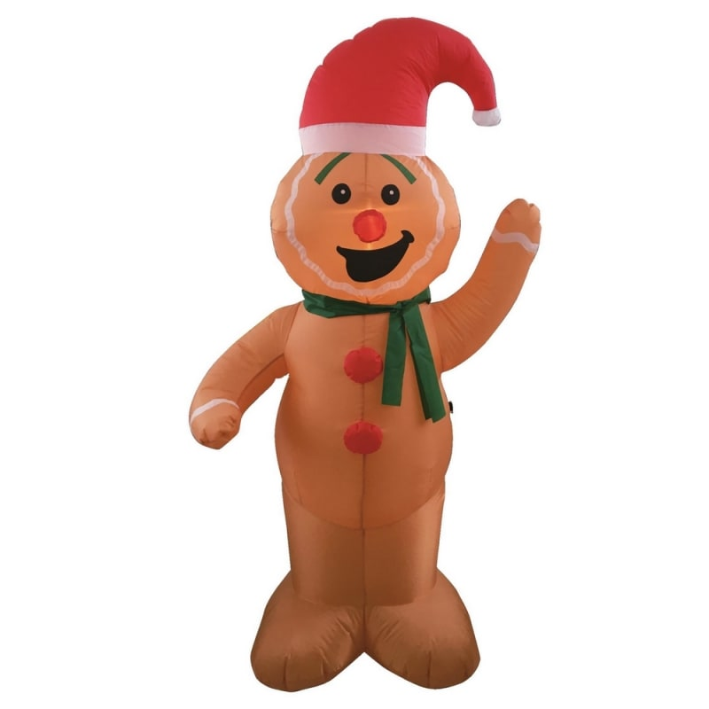Homegear Christmas 6ft Inflatable Gingerbread Man For Indoor/Outdoor Use with LED Lights