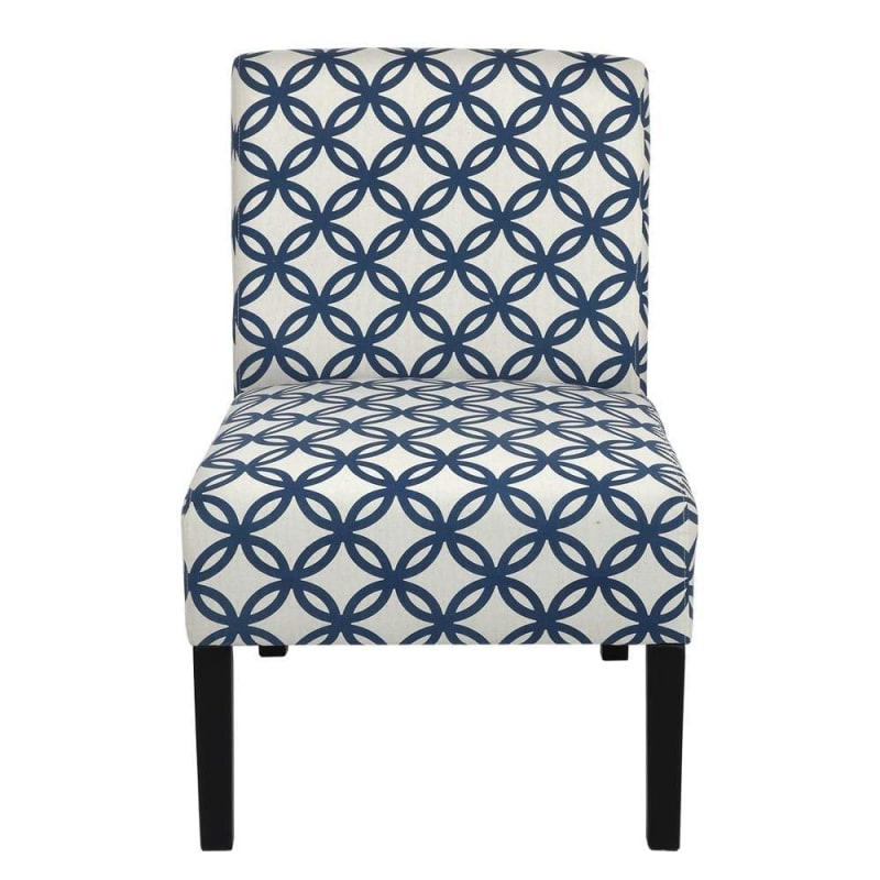 Homegear Home Furniture Accent Armless Chair - Contemporary Designs - Blue Intersecting Circles #1