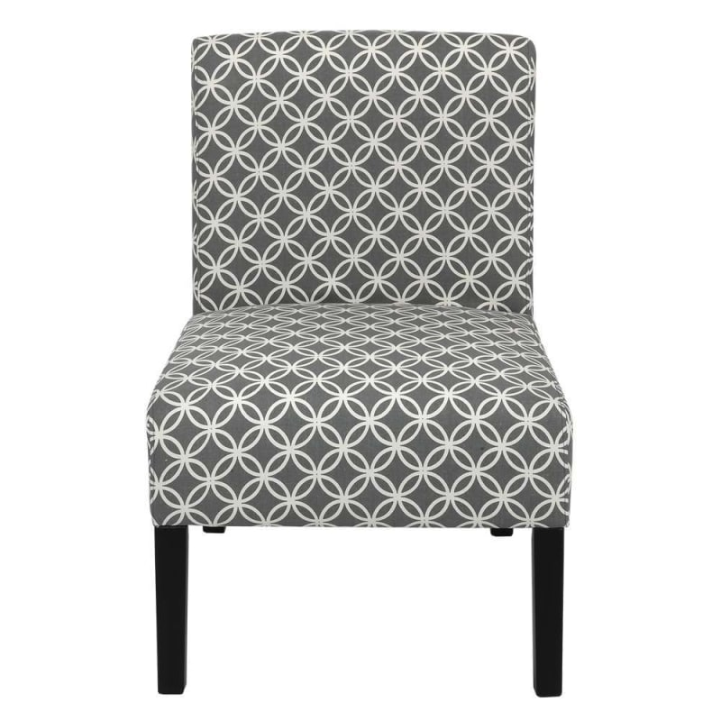 Homegear Home Furniture Accent Armless Chair - Contemporary Designs - Grey Intersecting Circles #1