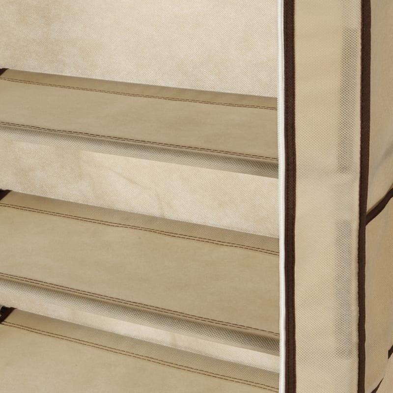 Homegear Large Free Standing Fabric Shoe Rack / Storage Cabinet Cream #5