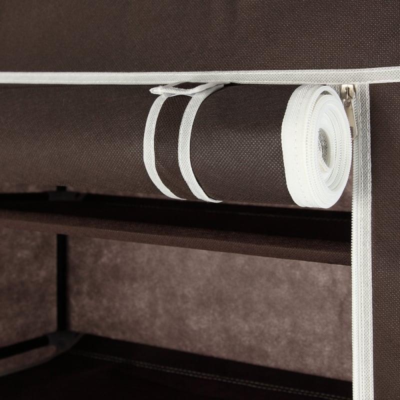 Homegear Large Free Standing Fabric Shoe Rack /Storage Cabinet V2 Dark Brown #4