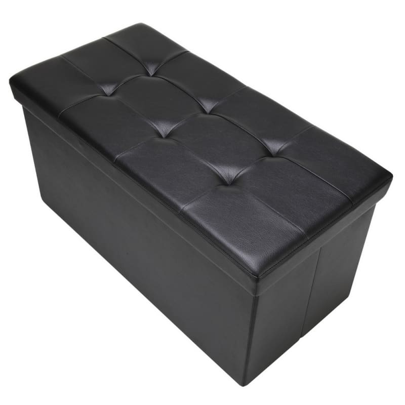 "Homegear 30"" Folding Storage Ottoman / Footstool Black #1"