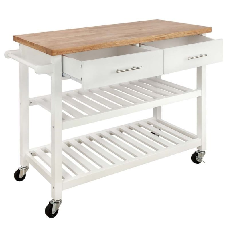 Homegear Open Storage V3 Kitchen Cart With Shelves Island On Wheels