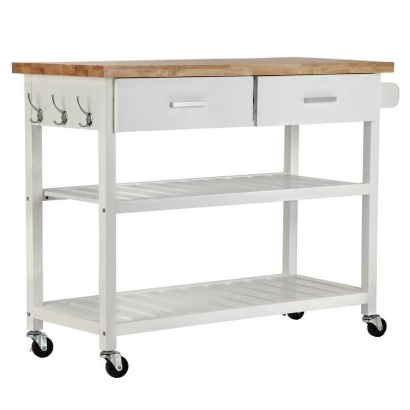 Homegear Open Storage V2 Kitchen Cart Island White