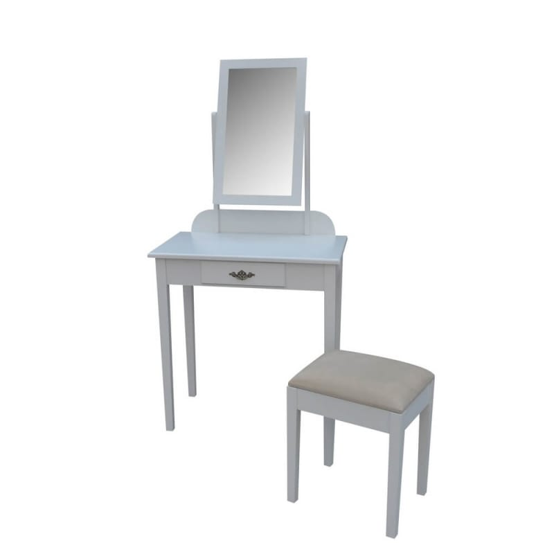 Homegear Vienna Dressing Table, Mirror & Stool Set -White