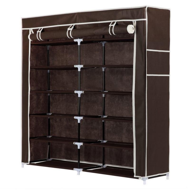 Homegear XL Free Standing Fabric Shoe Rack / Storage Cabinet Dark Brown