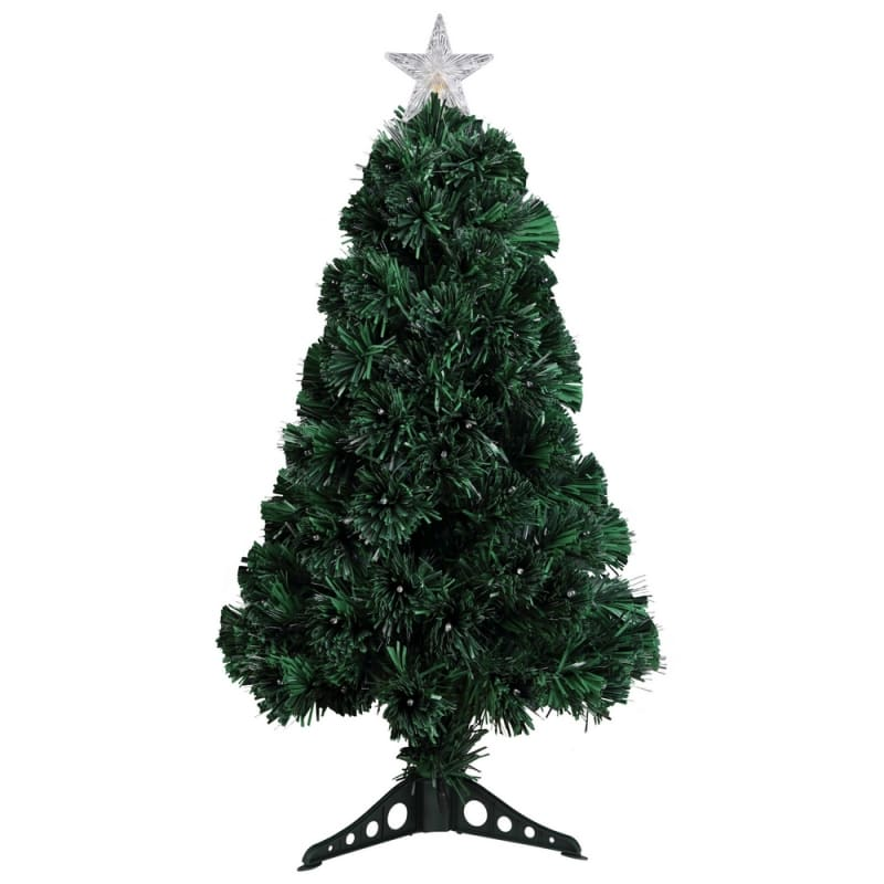 Homegear Artificial Pre-Lit Fiber-Optic Christmas Tree 3ft, Pre-lit with 95 Color Lights, Plastic Stand and Star #1