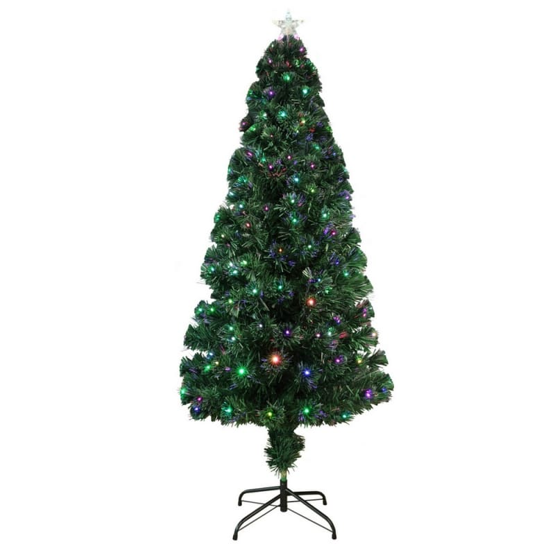 Homegear Artificial Pre-Lit Fiber-Optic Christmas Tree 6ft, Pre-lit with 235 Color Lights, Metal Stand and Star #1