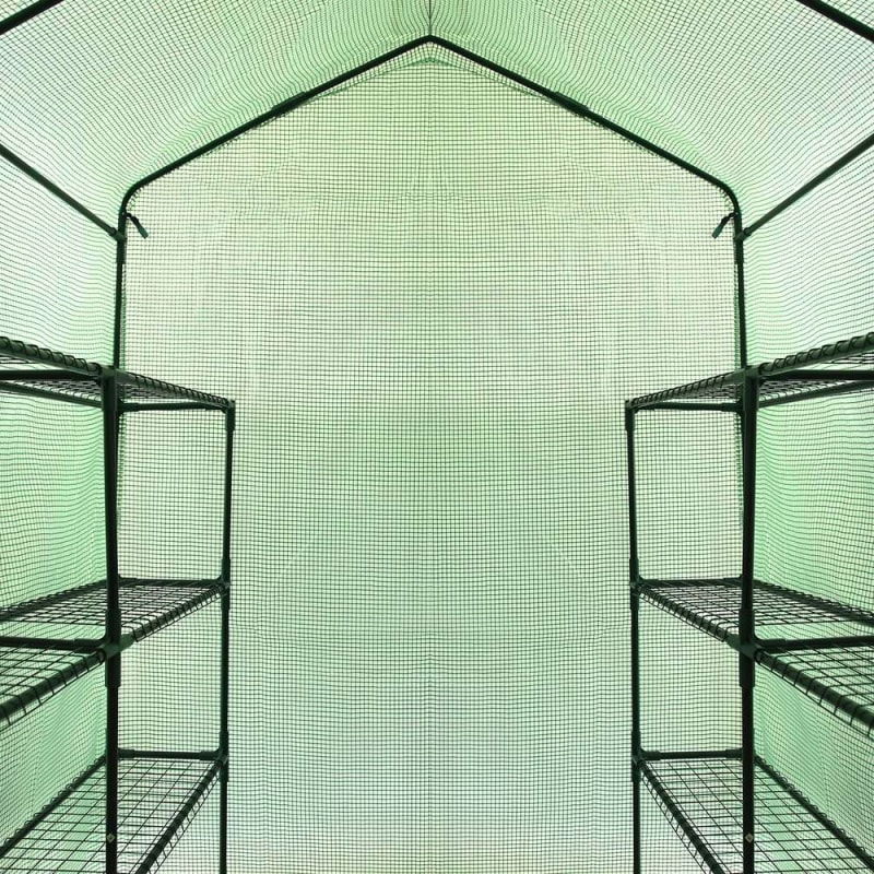 Palm Springs 12-Shelf Walk-in Greenhouse - Green Plastic Cover with Zippered Roll-Up Door #2