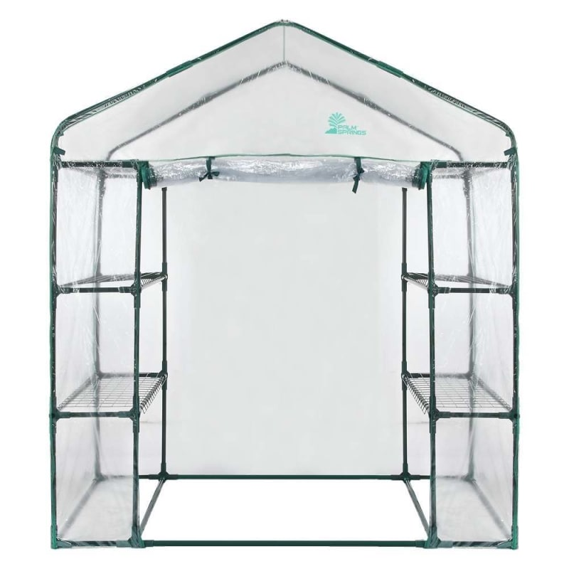 Palm Springs 6-Shelf Walk-In Greenhouse - Cover with Roll Up Zipper Door #1