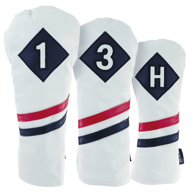 am Golf Premium Vintage Style PU Leather Headcovers Set, Retro White, Driver, Fairway Woods, Hybrid (1,3,X)