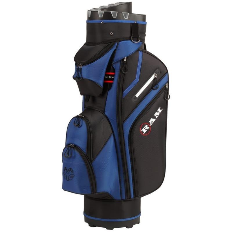Ram Golf Premium Cart Bag with 14 Way Molded Organizer Divider Top Black Blue #