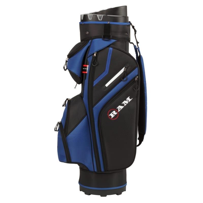 Ram Golf Premium Cart Bag with 14 Way Molded Organizer Divider Top Black Blue #1