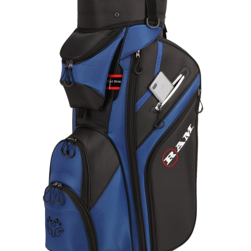 Ram Golf Premium Cart Bag with 14 Way Molded Organizer Divider Top Black Blue #3