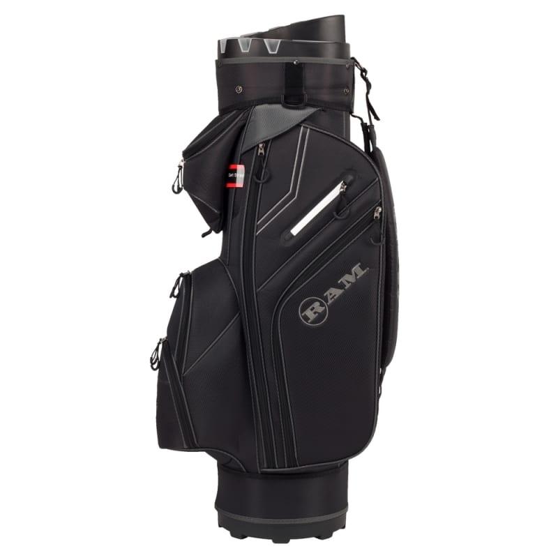 Ram Golf Premium Cart Bag with 14 Way Molded Organizer Divider Top Black Silver #1