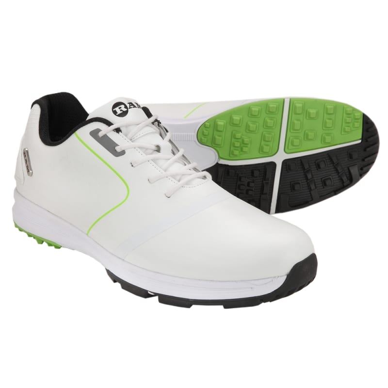 Ram Golf Player Mens Waterproof Golf Shoes - White / Green #