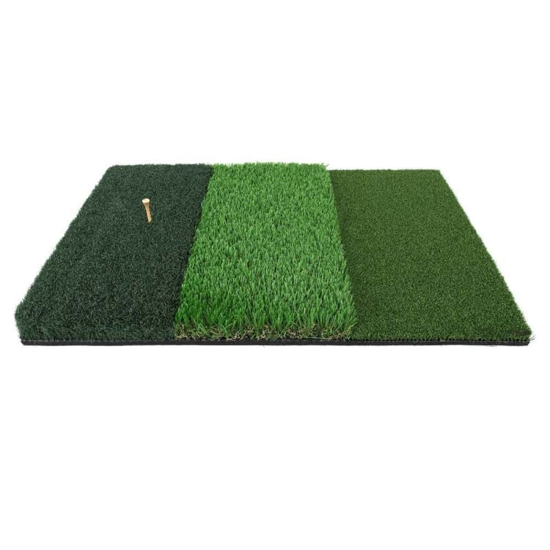 "Ram Golf Tri-Surface Practice Hitting Mat - Fairway, Rough and Tee Box - 16"" x 25"" - Drives, Approach Shots, Chips and More!"