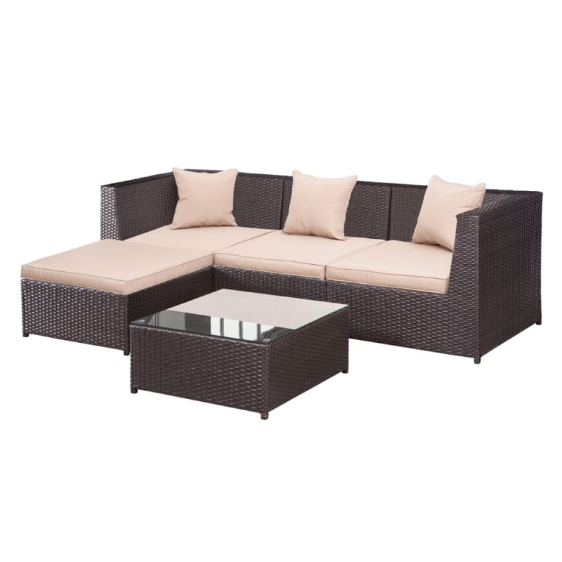 Palm Springs Outdoor 5 pc Furniture Wicker Patio Set w/ Chairs, Table & Cushions #1