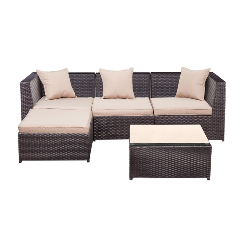Palm Springs Outdoor 5 pc Furniture Wicker Patio Set w/ Chairs, Table & Cushions #2